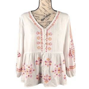 Impressions Embroidered Button Down Peasant Top